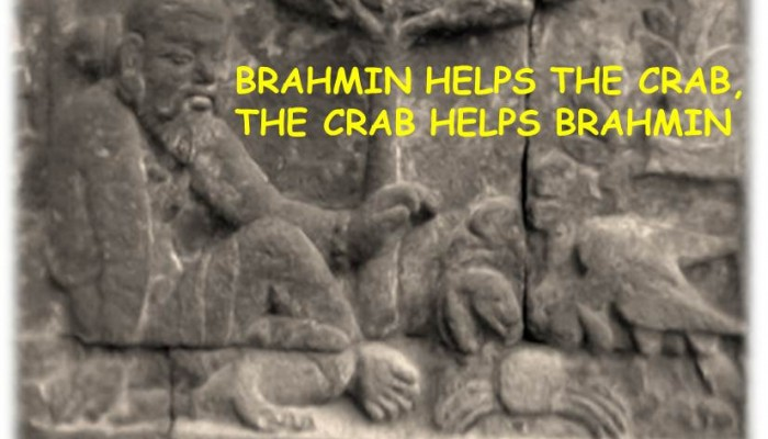 A Fable Story: Brahmin and The Crab. Picture is carved in Mendut temple, Indonesia.