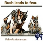 Short Fable Story: Puppy and Kitty in Rush
